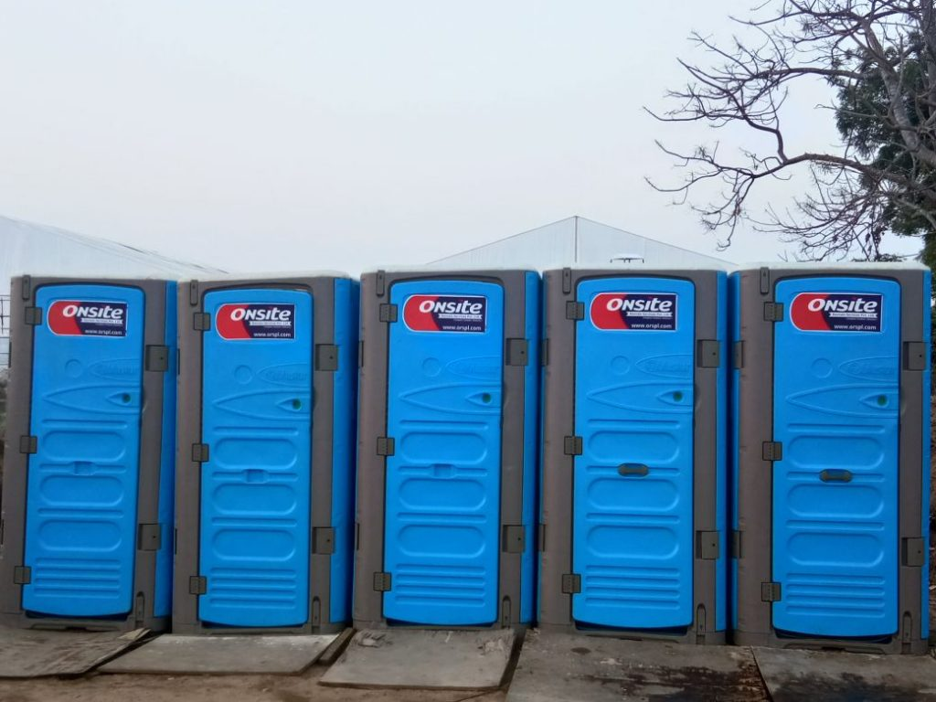 Portable restroom in India