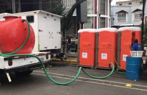 portable toilet pumping the waste